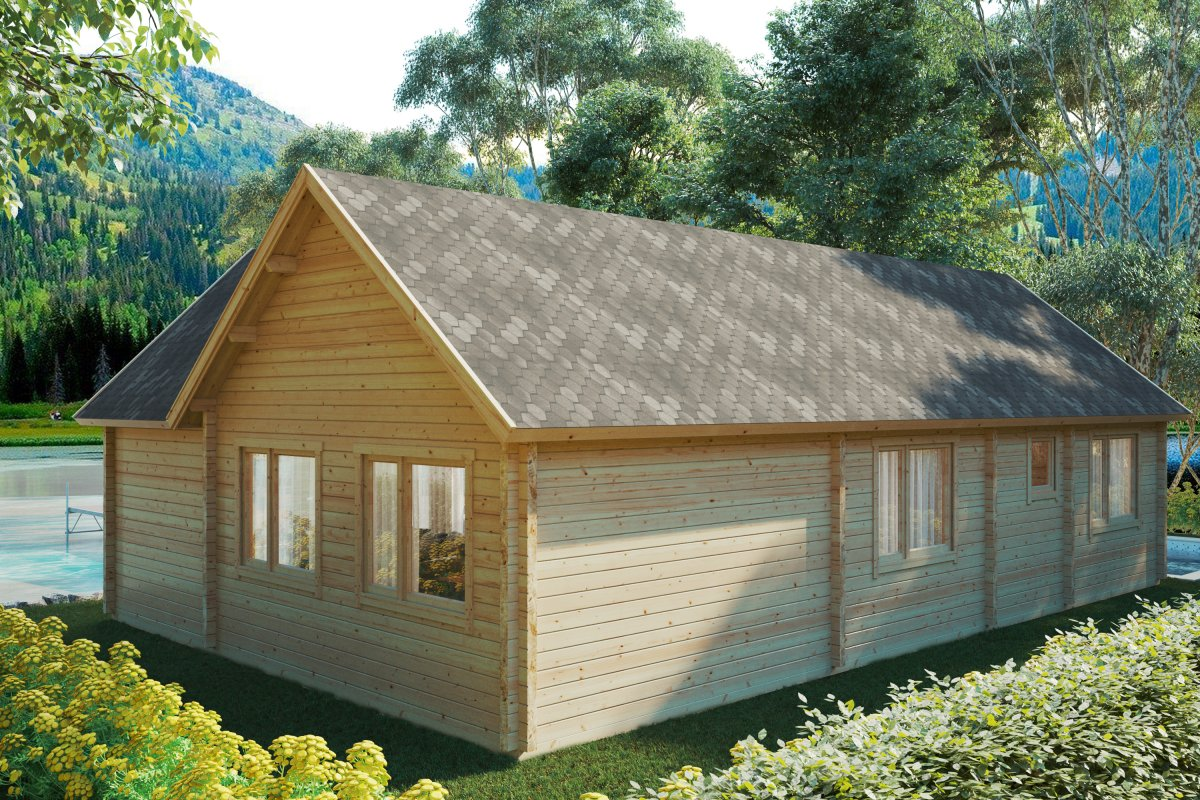 Log Cabin with Two Bedrooms and Sleeping Loft - Holiday Max 2 (65m2 / 12 x 7,5m / 92mm)