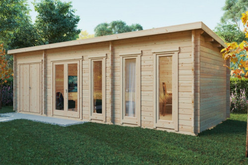 Garden Room with Storage Room Liam Plus (3 x 8 m / 44 mm / 22 m2)