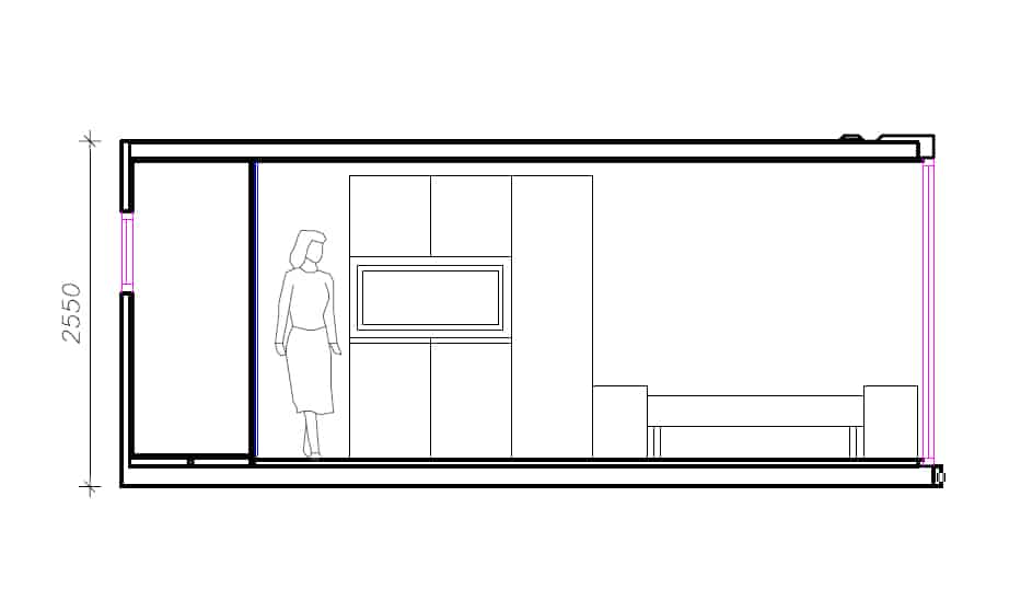 Shipping Container Cabin cross section