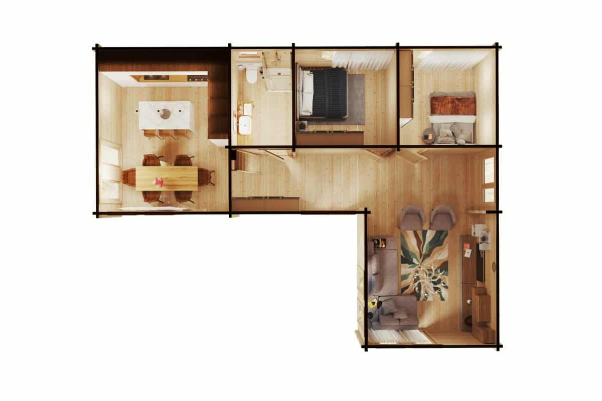 Two Bedroom Log Cabin with Sleeping Loft - Holiday Max 1 (85m2 / 9 x 12m / 92mm)