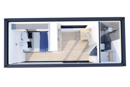Container accommodation cabin with shower room V 2 groundplan