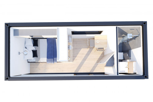 Container accommodation cabin with shower room V 3 Groundplan