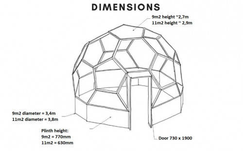dimensions glass house