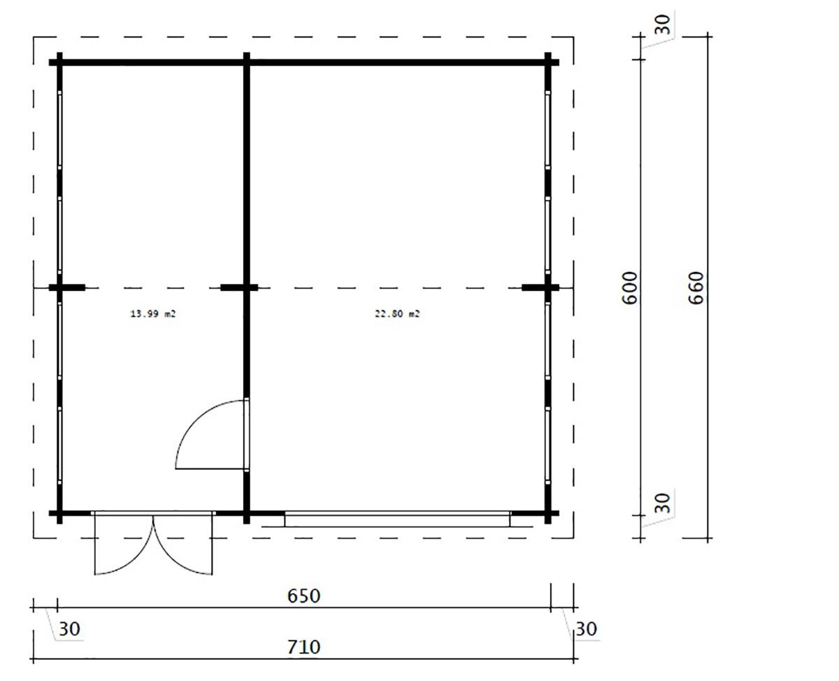Wooden Garage with Storage Room Model Q 70mm 6 x 6,5m
